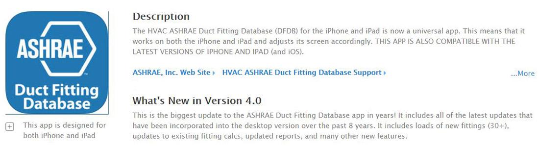 ASHRAE Duct Fitting Database App