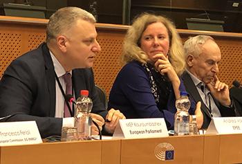 Member European Parliament (MEP) Peter Kouroumbashev, Andrea Voigt, and MEP Adam Gierek.