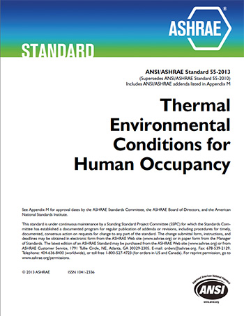 Standard 55 thermal environmental conditions for human for Indoor design conditions ashrae